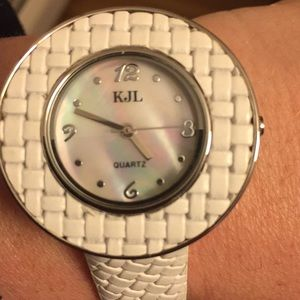 Kenneth Jay Lane White Mother Pearl Leather Watch